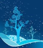 Bel arbre bleu abstrait de l'hiver Photos libres de droits