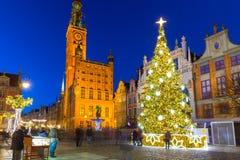 Bel arbre de Noël dans la vieille ville de Danzig Photo libre de droits