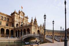 Bel architechture du bâtiment de Plaza de España avec Spanis Photographie stock libre de droits