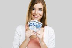 Bel argent de fixation de femme Photo libre de droits