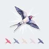 Bel autocollant d'hirondelle Illustration d'aquarelle L'oiseau de ressort apporte l'amour Travail manuel illustration stock