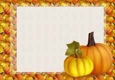 Bel Autumn Background Card avec des potirons dans des couleurs chaudes Photographie stock libre de droits