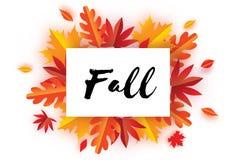 Bel Autumn Fall Paper Cut Leaves Bonjour automne Calibre d'insecte de septembre Cadre de rectangle L'espace pour le texte Origami Photographie stock libre de droits