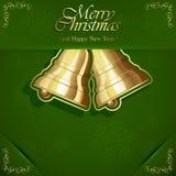 Bel de Noël sur le fond vert Images stock