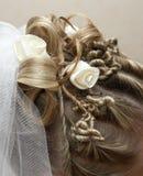 Bel empilement du cheveu de la mariée image libre de droits