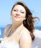Bel enceinte avec une fille avec des ailes Photo libre de droits