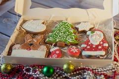 Bel ensemble de biscuits de pain d'épice de Noël de vacances Photographie stock libre de droits