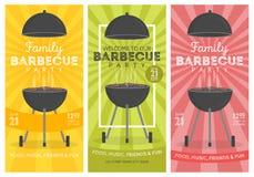 Bel ensemble de calibre de conception d'invitation de partie de barbecue Conception à la mode d'affiche de barbecue de BBQ Images libres de droits