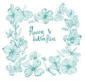 Bel ensemble de fleur de griffonnage Image libre de droits
