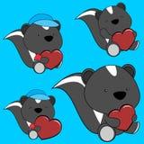 Bel ensemble doux de bande dessinée de mouffette de bébé illustration stock