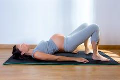 Bel exercice de forme physique de gymnastique de femme enceinte Image stock