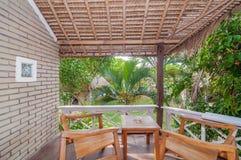 Bel hôtel de villa de jardin de terrasse Photographie stock libre de droits