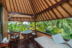 Bel hôtel de villa de jardin de terrasse Image stock