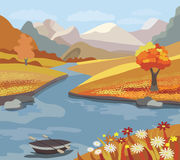 Bel horizontal d'automne illustration stock