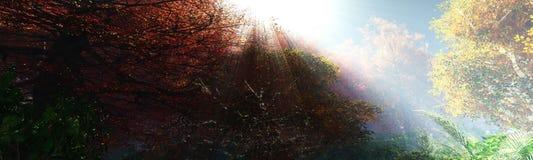 Bel horizontal d'automne Arbres d'automne au-dessus de l'eau photos stock