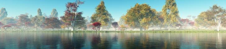 Bel horizontal d'automne Arbres d'automne au-dessus de l'eau image libre de droits