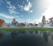 Bel horizontal d'automne Arbres d'automne au-dessus de l'eau photographie stock libre de droits