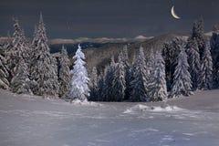 Bel horizontal de l'hiver dans les montagnes Images libres de droits