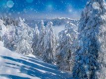 Bel horizontal de l'hiver dans les montagnes Noël a brouillé le fond avec les arbres impeccables couverts dans la neige, crêtes d photo stock