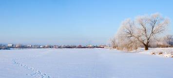 Bel horizontal de l'hiver. Panorama. Image libre de droits