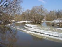 Bel horizontal de nature Inondation de ressort nevasse Neige fondue débordement Ciel bleu Milieux de ressort photographie stock libre de droits