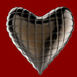Bel oreiller en forme de coeur en cuir brillant piqué Façonnez le concept fait main pour l'amour, romance, jour de valentines Images stock