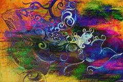 Bel ornement, dessin au crayon sur le vieux papier Et taches de couleur sur le fond Effet inverti d'ordinateur illustration stock