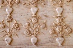 Bel ornement sur le mur du palais en Amber Fort à Jaipur Image stock