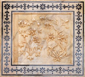 Bel ornement sur le mur du palais en Amber Fort à Jaipur Images libres de droits