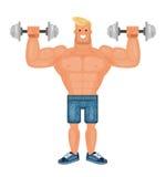 Bel pompé homme de bodybuilder faisant des exercices avec des haltères et souriant, vecteur plat Image libre de droits