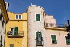 Edifice in the old city of Sanremo 1. A characteristic edifice in the old city of Sanremo Royalty Free Stock Photo