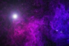 bel univers avec de la fumée pourpre, étoiles photographie stock