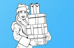 Bel usage Santa Costume Hold Gift Box de fille, Joyeux Noël et bruit Art Style de concept de bonne année rétro Photo libre de droits