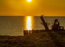 Bela pod wschód słońca na seashore zdjęcie stock