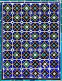 Belagd med tegel bakgrund med orientaliska prydnadar Royaltyfria Bilder