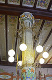 Belagd med tegel kolonn i den norr stationen, Valencia, Spanien Arkivfoto