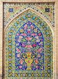 belagd med tegel vägg Arkivbild