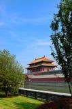 belagt med tegel kinesiskt tak Arkivbild