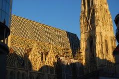 Belagt med tegel tak och södra torn av Wien ` s Stephansdom Royaltyfri Bild