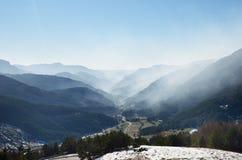 Belagua valley in winter mist, Navarrese Pyrenees Stock Images