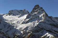 Belalakaya峰顶3861 m Dombai, Karachay-Cherkessia,俄罗斯 库存照片