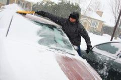 Belangrijk sneeuwonweer in Quebec Stock Foto