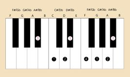 Belangrijke de schaalvingertechniek van BB voor piano met elke toepassing te gebruiken Royalty-vrije Stock Foto's