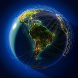 Belangrijke globale luchtvaartroutes vector illustratie