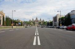 Belangrijke straat in Barcelona Stock Foto's
