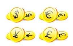 Belangrijke wereldmunten Royalty-vrije Stock Afbeelding