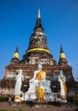 Belangrijkste Chedi van de tempel in Ayutthaya Royalty-vrije Stock Fotografie