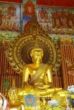 Belangrijkste gouden Boedha in Chanasonkram tempel, Verbod Stock Afbeelding