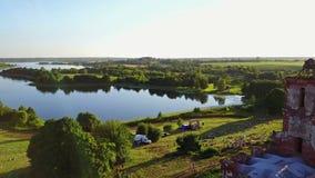 BELARUS, BELAYA CERKOV - August 04, 2018: International open air festival SPRAVA in Belarus. Aerial panoramic view. stock video footage