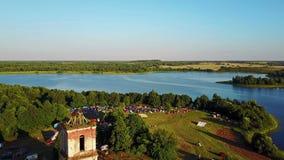 BELARUS, BELAYA CERKOV - August 04, 2018: International open air festival SPRAVA in Belarus. Aerial panoramic view. stock footage
